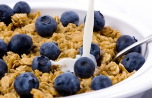 Fresh blueberries and granola